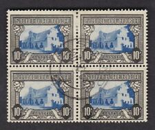 South Africa 1933/48 10s blue and charcoal SG64ca block 4 VFU very fine used