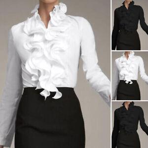 UK Womens Long Sleeve Collar Tops Shirt Ladies Ruffled High Neck T-Shirt Blouse