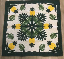 """XQUISITE Hawaiian quilt100% hand quilted applique table topper wall hanging 40"""""""