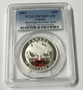 2013 PCGS PR70DCAM Canada Partridge in a Pear $10 1/2 Oz Silver Coin