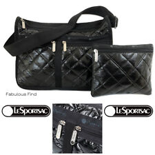 LeSportsac Black Crinkle Quilted Patent Deluxe Everyday Crossbody Bag Free Ship