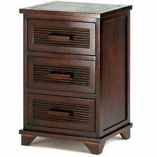 Dark Wood Santa Rosa End Side Table with Three Roomy Drawers for Storage