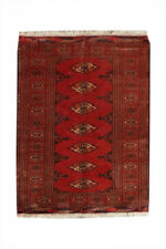 3x4 Vintage Hand Knotted Traditional Geometric Wool Red Area Rug