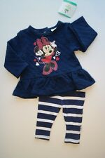 NWT DISNEY BABY MINNIE MOUSE 2Pc Top & Leggings Outfit Set Blue White Girls 6-9M