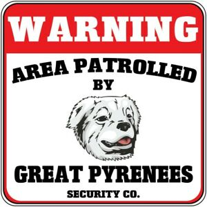 Crossing Sign Warning Patrolled Great Pyrenees Dog Security Cross Xing Metal