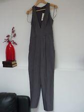 Ladies Fab Miss Selfridge Grey Low V Neck Smart Formal Jumpsuit Size 8, Bnwt.