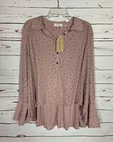 Blu Pepper Boutique Women's L Large Pink Dot Button Top Blouse Shirt NEW TAGS