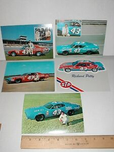 Richard Petty 1971 Plymouth 1973 Dodge 1969 Ford vtg old racing postcard handout