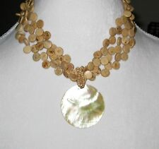 NY & Co Round Shell Pendant Necklace on Triple Strand Wooden Discs Jewelry