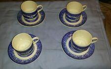 Vintage Set of 4 USA  Blue & White Transferware cup and Saucer sets soup mug