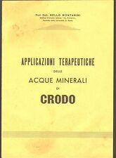 1950 ACQUA MINERALE DI CRODO OSSOLA TERAPIA MEDICINA FORLANINI  MONTANINI FARMAC