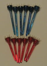 """New Ciscobay 100 Low Friction Plastic Crown Golf Tees 3"""" and 2 3/8"""" Blue and Red"""