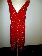 OASIS Ladies Summer Frill Dress Red Polka Dot Print  Size 14