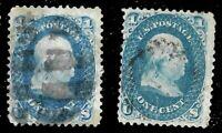 Sc #63 x 2 Franklin 1 Cent 1861-62 Civil War US 1268