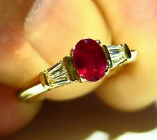 .85CT 14K Gold Natural Ruby White Diamond Halo Engagement Ring Vintage Deco