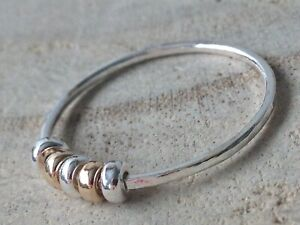 Sterling Silver & 14ct Rolled Gold Hammered Fidget ~ Anxiety Handmade Ring