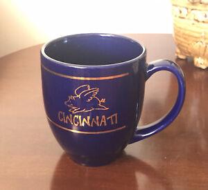 Cincnnati Cobalt Blue Coffee Mug Pig Flying in Gold Trim 12 Oz