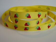 "10 Metres Yellow Strawberry Print Grosgrain Ribbon 3/8"" 9mm 10mm"
