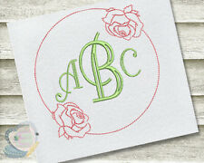 Rose Monogram Frame Machine Embroidery Design