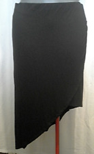 Ladies Womens Black Stretch Skirt Asymmetric Crossover Rockmans Size L (14) BNWT