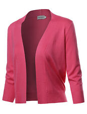 FashionOutfit Women's Solid Soft Stretch 3/4 Sleeve Layer Bolero Layer Cardigan