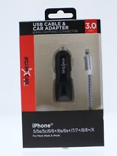 3.0ft USB Cable & Car Adapter Charger Braided Cable for iPhone X/8/7/6/5 New