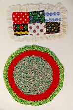 Doll House Braided Rag Rug + Quilt Top Lot (2) Hand Made Miniatures Doily