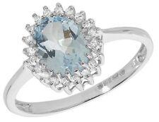 Aguamarina y Diamante Anillo Oro Blanco Racimo Compromiso Tasación Certificado