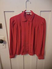 Vintage Womens Marlis by Elle Designs Red Pleated Front Long Sleeve Size 4