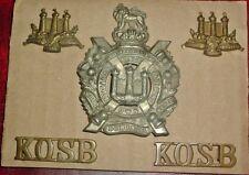CAP BADGES-ORIGINAL BOER WAR CAP COLLARS TITLES SET KINGS OWN SCOTTISH BORDERERS