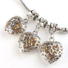 30pcs Bulk Retro Silver Hollow Heart Dangle Charms Alloy Bead Fit Snake Chain L