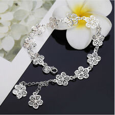 NEU Luxus 925 Silber  ARMKETTE ARMBAND Blume