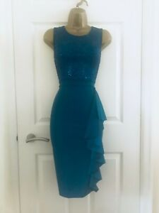 Quiz Teal Green Sequinned Ruffled Evening Party Midi Wiggle Occasion Dress £35
