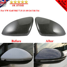 Pair For VW Golf Mk7 7.5 13-18 Gti Tdi Tsi R Real Carbon Fibre Wing Mirror Cover