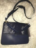 Lily Ivy Crossbody Bag Faux Leather Navy Blue new