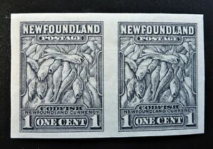 """NEWFOUNDLAND #184c VF IMPERF PAIR NH** """"cod fish""""  CAT.$90 CAN.SHIP $1.99 COMB"""