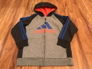 Adidas Youth Boys Logo Hoodie Long Sleeve Full Zip Activewear Sweatshirt Size 7