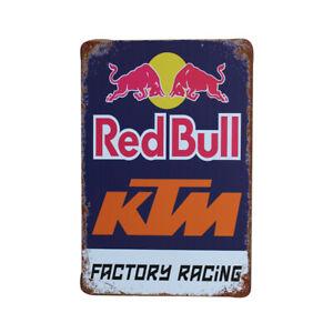 Metal Tin SignRustic Red Bull KTM new MAN CAVE 200x300mm