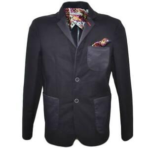 Giacca uomo sartoriale nero elegante con pochette da taschino stile casual slim