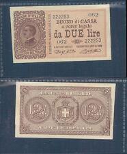 VITTORIO EMANUELE III 2 LIRE  DEC.21/09/1914 F.D.S. A.