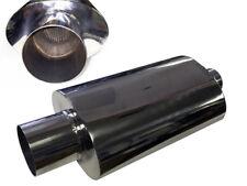 Muffler 304 Stainless Steel Oval Universal Performance Exhaust Straight cut