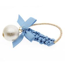 Bleu & blanc nœud fille breloques élastique à cheveux enveloppant accessoires