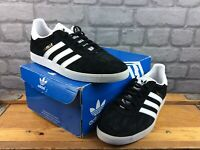 ADIDAS MENS UK 8 EUR 42 GAZELLE SUEDE TRAINERS BLACK WHITE GOLD RRP £70 M