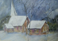 Original Mixed Media Painting 'ST.JOHN THE BAPTIST CHURCH, DITTON PRIORS' Signed