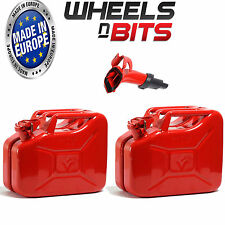 2 x 10L Litre RED JERRY MILITARY CAN FUEL PETROL DIESEL RED GREEN WITH SPOUT