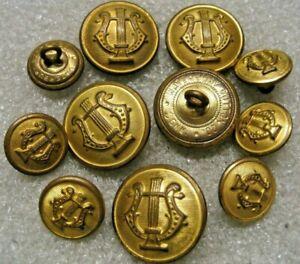/Vintage Uniform Buttons Music Band LOT OF 5+ 6