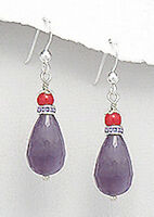 """1.6"""" Solid Sterling Silver Briolette Natural Amethyst & Coral Earrings 5g Beauty"""