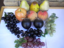 Vintage Plastic Fruit Lot Realistic Pears, Plums, Grape Clusters, Peaches, Apple