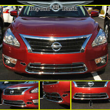 Fits 2013-2015 NISSAN ALTIMA Chrome Front Grill Lower Bumper Trims Overlays