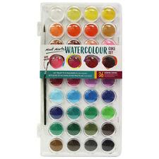Watercolour Paint Set Cake Pan Kit 36 Colours Mont Marte Mix Palette Box Brush